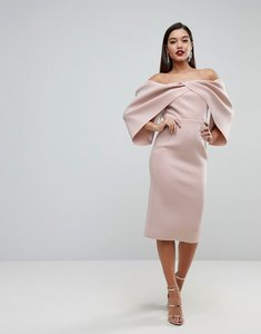 Read more about Asos edition folded sleeve off shoulder midi dress - mink