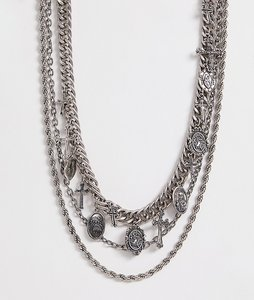 Read more about Reclaimed vintage inspired layered chain necklace in silver exclusive at asos