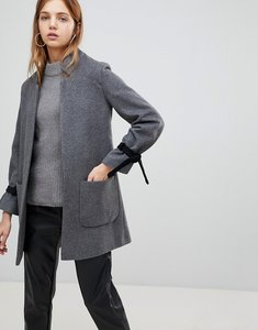Read more about Helene berman wool blend notch collar coat with tie cuffs - grey black