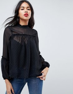 Read more about Asos high neck smock blouse in dobby mix - black