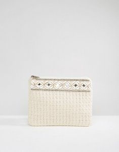 Read more about South beach cream clutch bag with shell trim - ivory