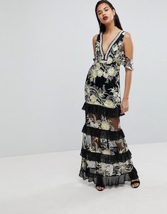 Read more about Prettylittlething premium embellished maxi dress - black