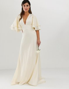 Read more about Asos edition satin panelled wedding dress with flutter sleeve