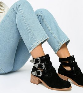 Read more about Asos design wide fit blair leather cut out ankle boots - black suede