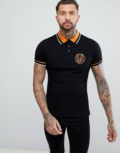 Read more about Versace jeans twin tipped polo shirt in black with tiger logo - black