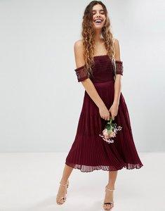 Read more about Asos bridesmaid premium guipure lace panelled midi dress - wine