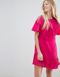 Read more about Asos pleated ruffle shift mini dress - pink