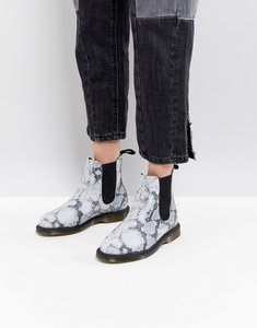 Read more about Dr martens kensington chelsea boots in faux snake print - light grey asciano