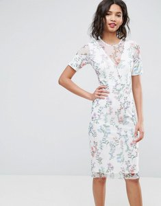 Read more about Asos panelled mesh pencil dress in cream floral print - multi