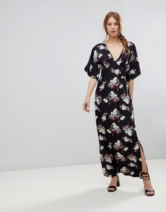 Read more about Influence kimono sleeve floral maxi dress - black