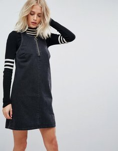 Read more about Asos denim shift dress in washed black with circular ring pull - washed black
