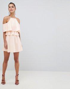 Read more about Asos design high neck cold shoulder skater mini dress - nude