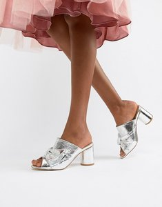 Read more about Glamorous metallic heeled mule - silver