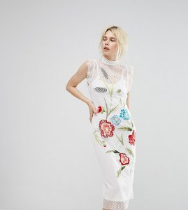 Read more about Hope ivy mesh spot midi dress with embroidery - white multi