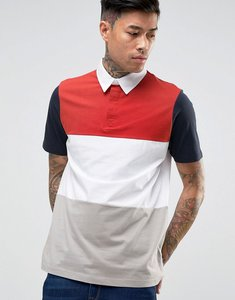 Read more about Asos polo shirt in rugby styling with retro colour blocking - multi