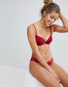 Read more about New look lace longline balconette bra - red