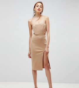 Read more about Asos tall corset detail cut out midi bodycon dress - camel