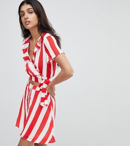 Read more about Glamorous tall crop top with frill collar and tie side in stripe co-ord - red white stripe