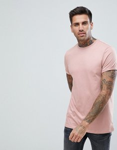 Read more about Asos t-shirt with crew neck and roll sleeve in pink - dream