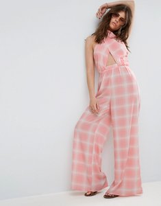 Read more about Asos jumpsuit in check with cross front and super wide leg - pink check