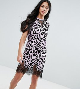 Read more about Asos petite sleeveless t-shirt dress with lace inserts in leopard print - lilac animal