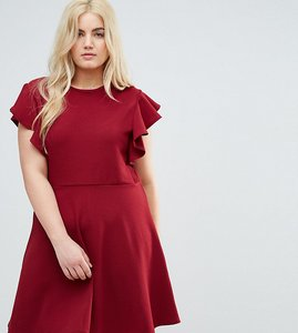 Read more about Praslin dress with frill sleeves - burgundy
