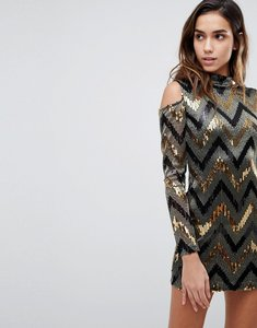 Read more about Ax paris off shoulder fishtail midi dress with lace inserts - gold multi