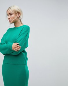Read more about Asos co ord jumper in rib - green