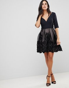 Read more about Little mistress applique mini dress - black mink