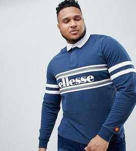 Read more about Ellesse plus long sleeve polo shirt with logo panel in navy - navy