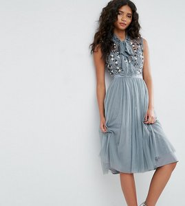 Read more about Needle thread ditsy bodice dress with tie neck - moonstone