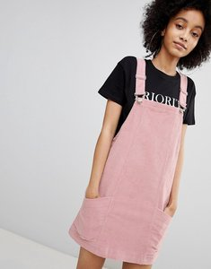 Read more about Bershka baby cord dungaree dress in pink - pink