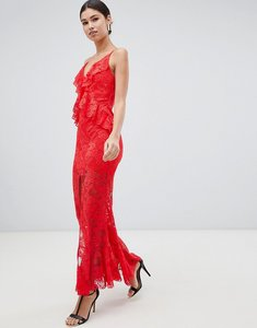 Read more about Love triangle ruffle lace maxi dress with cross back in red