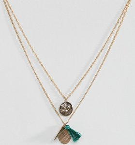 Read more about Asos coin charm and tassel pendants necklace - gold