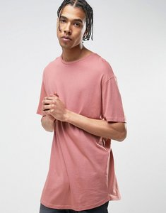 Read more about Bershka longline t-shirt in pink - pink