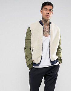 Read more about Asos borg bomber jacket with nylon sleeves in beige - ecru