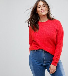 Read more about Asos curve jumper in fluffy yarn with crew neck - red