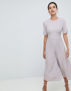 Read more about Asos design tea jumpsuit with ruched sleeve detail - grey