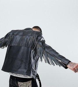 Read more about Reclaimed vintage revived fringed leather biker jacket - black