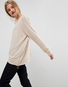 Read more about Asos jumper in cashmere mix with zip sides - stone