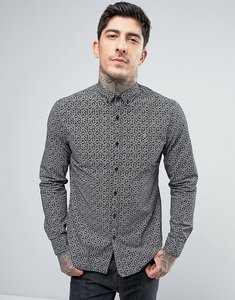 Read more about Farah slim fit paisley shirt in black - black