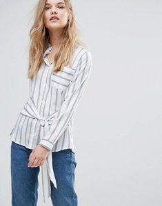 Read more about Influence tie front shirt - white stripe