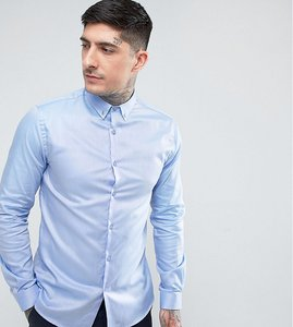 Read more about Heart dagger skinny shirt with button down collar - blue