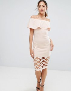 Read more about Ax paris pink frill bardot bodycon with cut out detail dress - pink