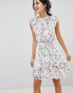 Read more about Forever new floral printed mini dress with frill detail and lace yolk - floral print