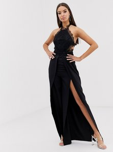 Read more about Love triangle halter neck open back jumpsuit with thigh split in black