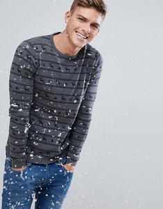 Read more about Esprit xmas jumper with reindeer stripe - grey 035