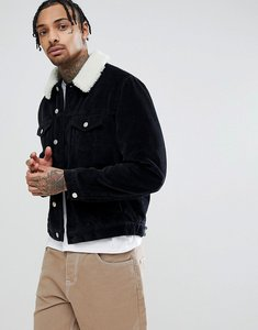 Read more about Asos design cord western jacket with borg collar in black - black