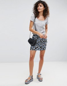 Read more about Asos mini skirt with pockets in animal print - multi