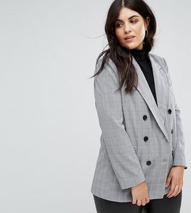 Read more about Fashion union plus double breasted blazer in check - grey check